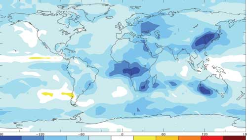 Sunlight reaching the surface decreased over most of the globe in blue, and in some regions remained unchanged as in white, or slightly increased shown in yellow.