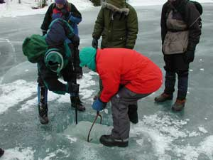 Dr. Peter Wasilewski and Tony Gow cutting an ice block from the Cascade Lake