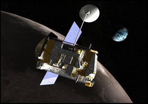 Artist's rendering of the LRO spacecraft in orbit.