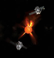 Artist's concept of STEREO spacecraft orbiting the sun