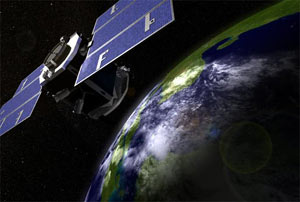 Artist's rendering of Cloudsat in orbit