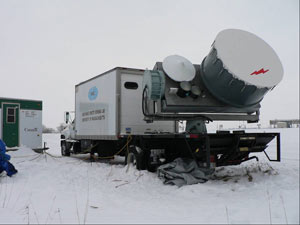 As part of the Cloudsat CALIPSO field campaign, University of Massachusetts radar transported to rural area in Ontario, Canada, scanned clouds on Jan. 24, 2007.