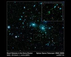 This false color mosaic of the central region of the Coma cluster combines infrared and visible light images to reveal thousands of faint objects, in green.