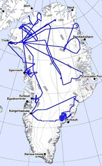 Researchers will analyze results from this flight path accomplished during the recent Arctic Ice Mapping Project mission to Greenland.