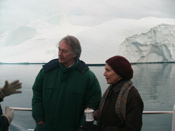 Chairman Markey and Speaker Pelosi. That's an iceberg behind them that has already turned over, hence the smooth surface.