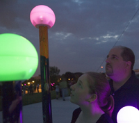 As the sun set, the students' extra-solar planets began to illuminate the grounds of the visitor center, bringing to life the Worlds Beyond exhibit.
