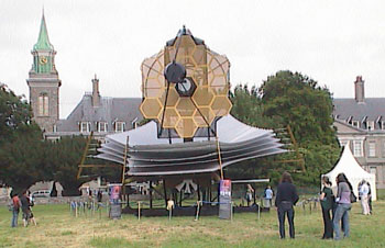The life sized James Webb Space Telescope model sits in front of the RoyalHospital Kilmainham, in Dublin, Ireland.