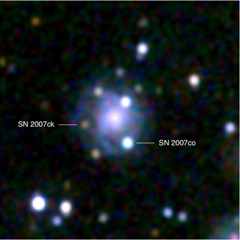 Image of the double supernova in the constellation Hercules.