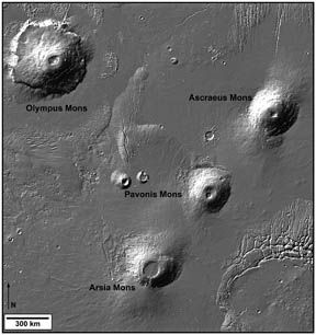 The Tharsis Montes volcano chain