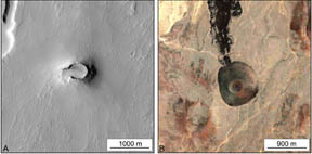 Ash cones on Mars and Earth