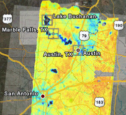 Soil moisture imagery observed using the CU Polarimetric Scanning Radiometer on the NASA P-3B on July 3 over flood-prone areas of Texas. The imagery was delivered to the Texas Office of Emergency management for flood relief planning within less than 24 hours time from observation. Soil saturation in flood-prone regions near San Antonio, south of Austin, and northwest of Corpus Christi are seen here in darker blue.