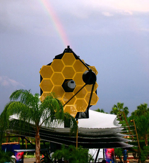 Life-sized model of the James Webb Space Telescope.