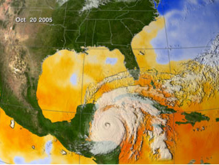 Screenshot from an animation of Sea Surface Temperatures during Hurricane Wilma