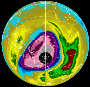 2000 ozone hole over the arctic as seen by Earth Probe TOMS.
