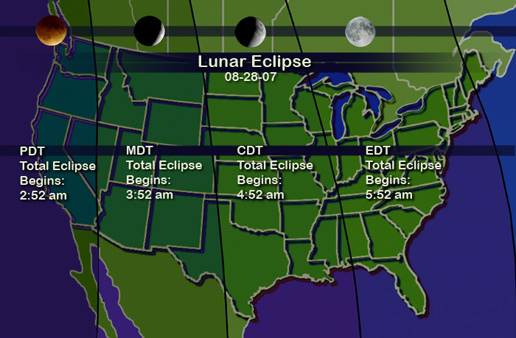Map of the United States showing eclipse start times