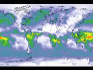 Still from animation showing global rainfall trends.