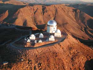 An aerial image of the NOAO's Cerro Tololo Interamerican Observatory in Chile.