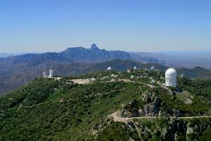 This aerial view is looking to the southwest across the panorama of Kitt Peak National Observatory in Arizona