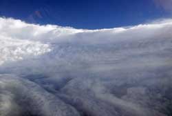 Katrina's eyewall swirls in a photograph by a National Oceanic and Atmospheric Administration P3 hurricane hunter pilot on Aug. 28, 2005.