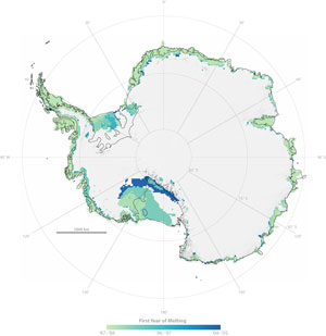 A map of Antarctica indicates first time persistent melting detected within the study period from 1987 through 2006.