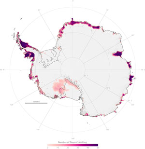 Satellite imagery shows the number of Antarctic melting days for the 2004 through 2005 season.