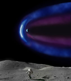 Artist's concept of magnetosphere boundary seen from moon