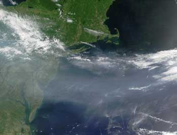 A cloud of pollution hangs over the Eastern United States in this image captured in July 2002 by NASA's MODIS instrument.
