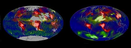 Maps showing Earth's aerosols.