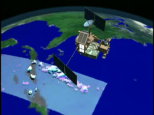 Still from animation of TRMM spacecraft