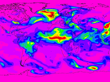 Aerosol concentration map of the world