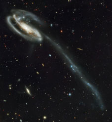 This Hubble Space Telescope image shows the Tadpole Galaxy, also known as UGC 10214.