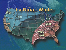 Weather map of the United States showing La Nina effects
