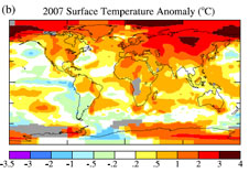 This shows temperature anomalies for the 2007 calendar year relative to the 1951 through 1980 mean.