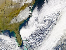 Satellite image of a 2002 winter storm fueled by El Nino
