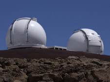 Photograph of the twin Keck telescopes