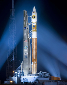 MidSTAR 1 sits aboard an Atlas 5 rocket the night before launch at Cape Canaveral Air Force Station in Florida.