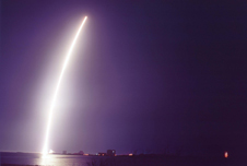 The United Launch Alliance booster shot into the night sky on 8 March 2007