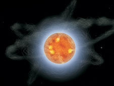 This artist rendering depicts how a magnetar might appear if we could travel to one and view it up close.