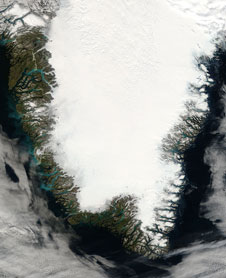 This MODIS Terra image, acquired August 23, 2006, shows the southern portion of Greenland.