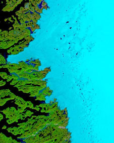 The MODIS instrument acquired this image of melt ponds on Greenland's western coast in June, 2006.