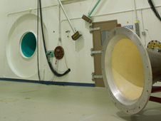 Photo of the horns in the Goddard Acoustic Test Chamber