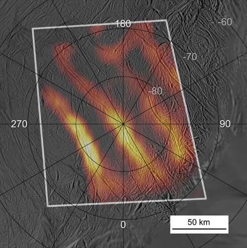 The most detailed temperature map to date of the Tiger Stripe region on the south pole of Saturn's moon Enceladus.