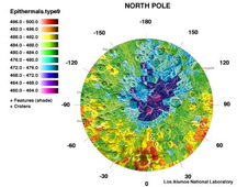 Map of potential hydrogen deposits on the north pole of the moon