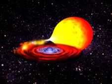 Still from a computer animation illustrating a thermonuclear explosion as it ignites, spreads, and engulfs an entire neutron star.