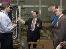 George Takei outside a Goddard clean room
