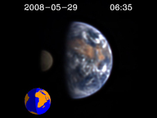 Still of EPOXI video showing Earth and the Moon.
