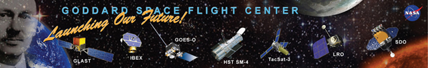 Banner showing artist concepts of nearing Goddard missions