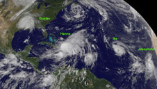 Satellite image of Atlantic storms