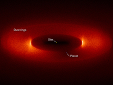 Delicate rings of dust form near a planet twice Earth's mass