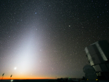 A glow called the zodiacal light is seen in the sky before sunrise or after sunset